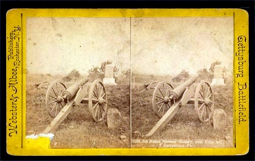 A stereograph of the 5th Maine Battery at Gettysburg