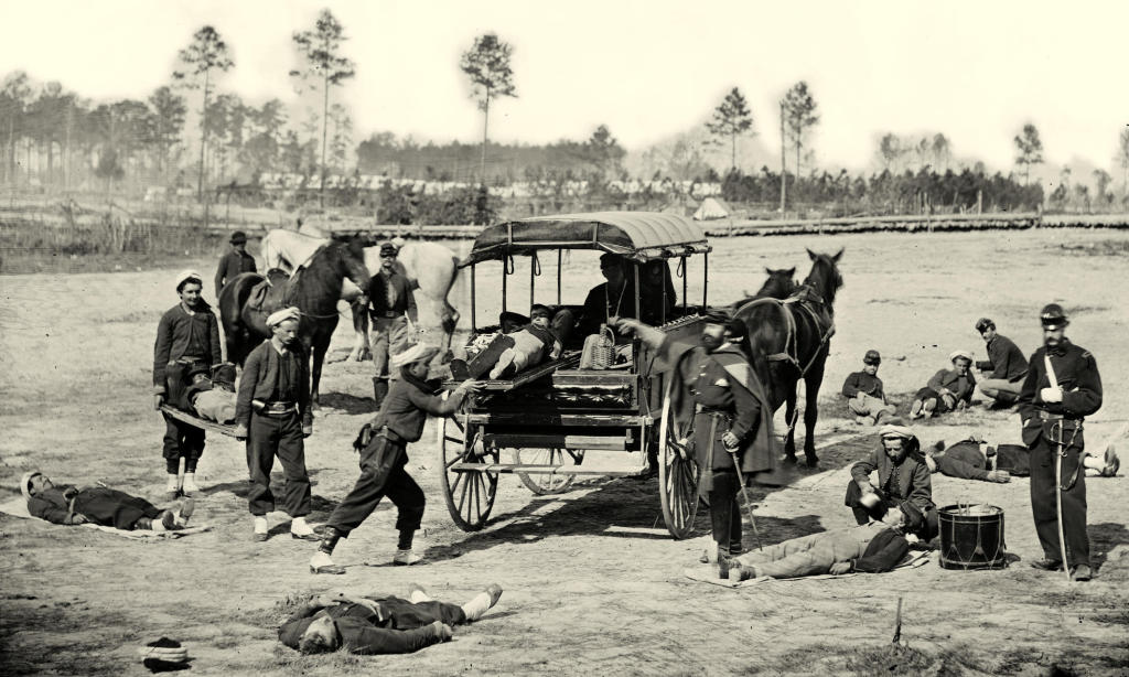 Horse ambulances brought wounded soldiers to field hospitals not far from the front lines.