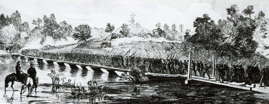 Soldiers fording a river over a pontoon bridge - bridge planks supported by a series of small boats