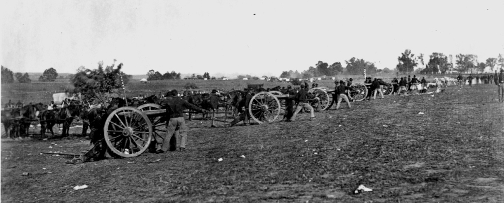 Union artillery on the field