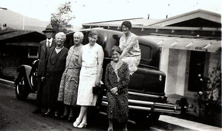 Yeaton Family photo L to R: Mr. & Mrs. Samson, Marion Tebbett's mother, Marion Tebbetts, Lillian Yeaton & Donna Yeaton